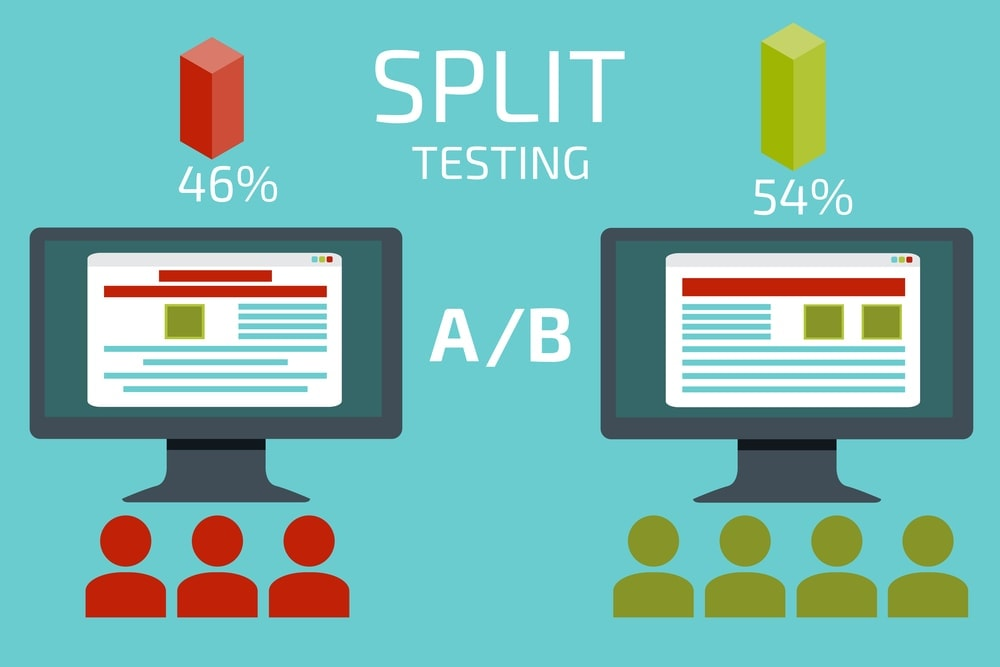 A-B comparison. Split testing. Concept with desktop computer vec