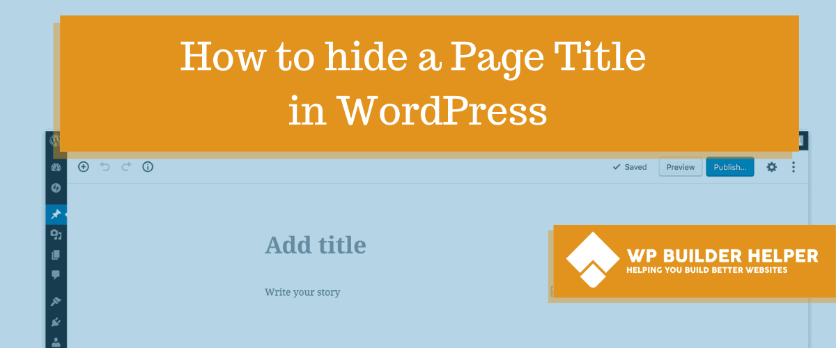 how to add a page title to wordpress